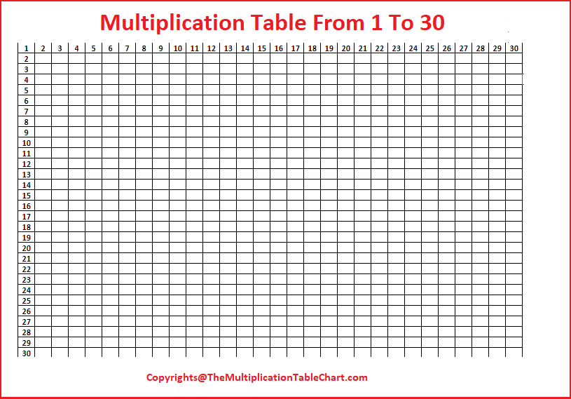 Multiplication Table From 1 To 30 Printable