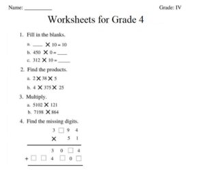 Multiplication Worksheets for Grade 4 with Pictures
